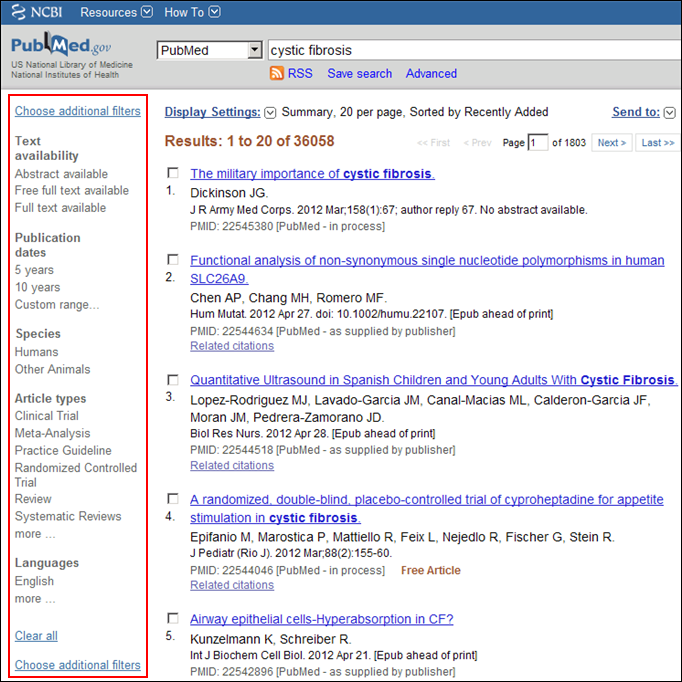 Screen capture of PubMed results with default filter sidebar options