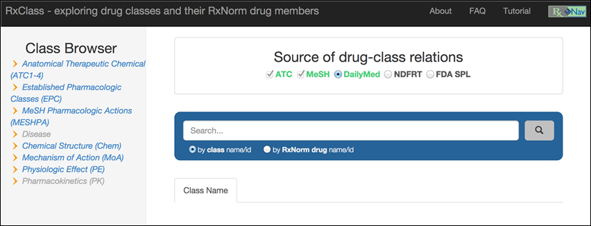 RxClass Homepage.