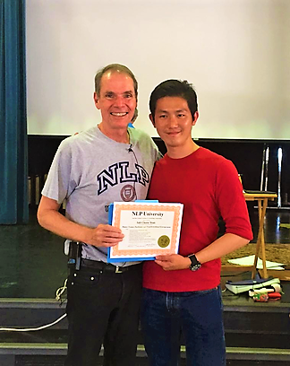 CY Soh with Robert Rilts in NLP Master Trainers Training (2016), in NLP University, University of California Santa Cruz (UCSC).