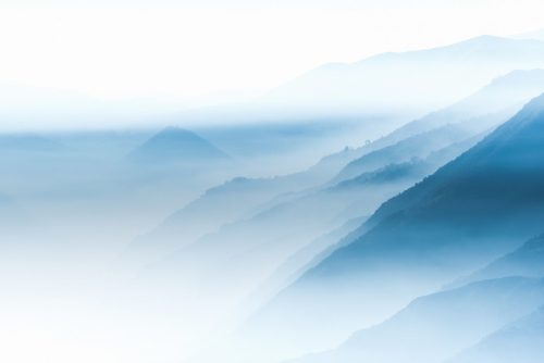 Mountains shrouded in mist