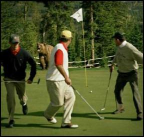 Golfer walking away