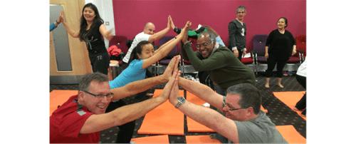 People bonding via yoga