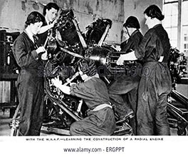 women repairing aircraft engines
