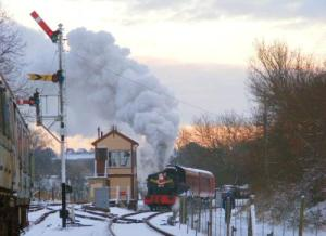 Santa Special being pulled by our Peckett at Pitsford Sidings.