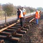 Track laying north of Bridge 13