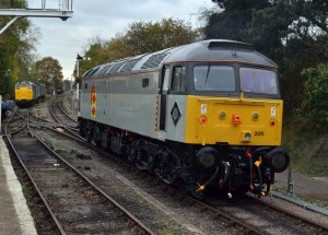 Class 47205 backing on to its coaches prior to coupling up on 6th Nov 2011. Class 31289 awaits its next move in the background too. Photo: David Millard