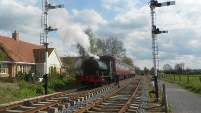 Peckett 2104 is see standing at the Boughton platform starter signal for the first time on the 6th of May 2012. Photo: G.R. Titmuss