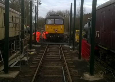 With all of the uprights installed on 11 Feb 2018, he view along the siding looks a touch different. Photo Credit: Graham Peacock