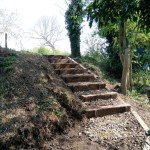 The new steps at the southern end of Bridge 11, ready for the temporay footpath diversion. 21 April 2019 Photo Credit: Graham Peacock