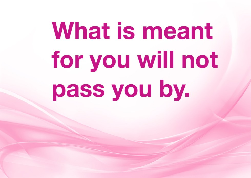 What is meant for you won't pass you by.