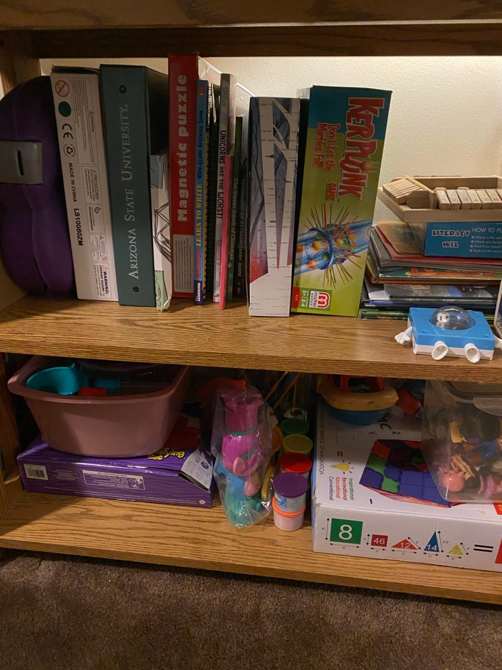 Organized childrens books, toys and games.