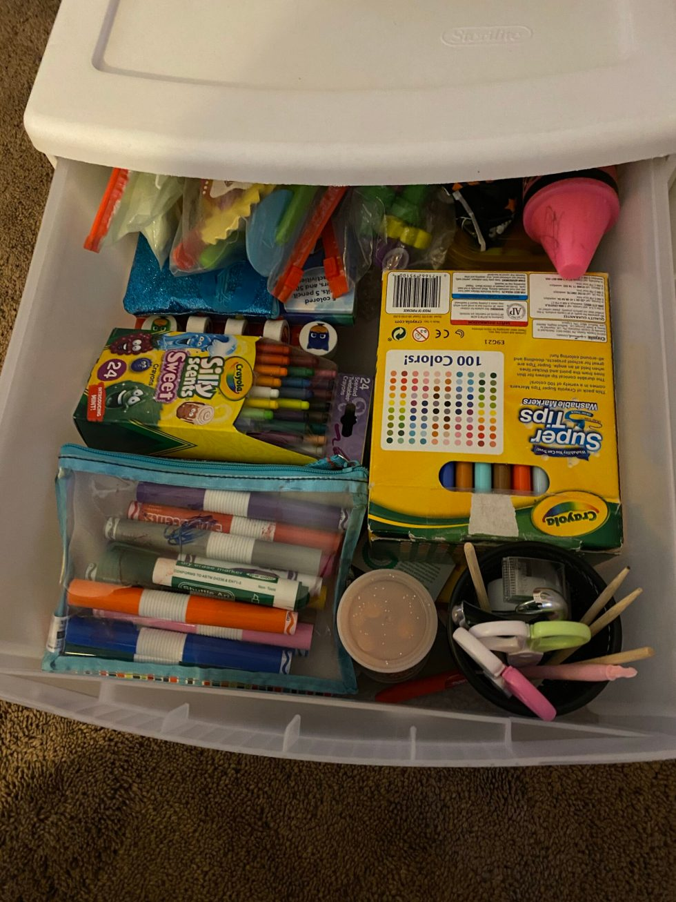 Neatly organized drawer with kids craft supplies