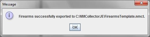 Successful Export Message