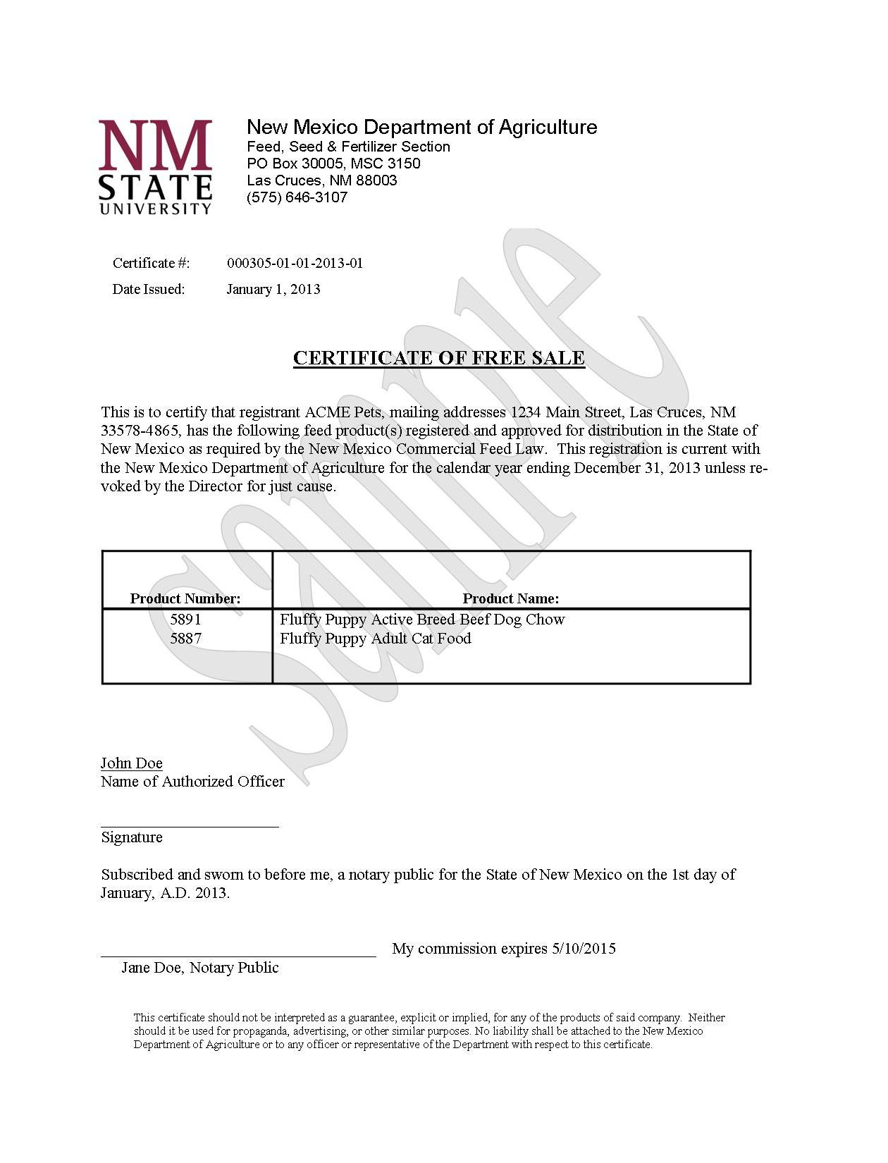 Certificates Of Free Sale