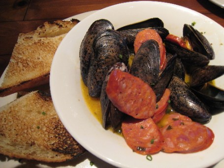 Mussels with Andouille sausage and Ale