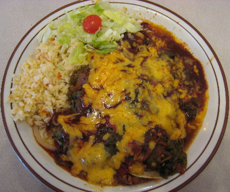 Enchiladas with the Frontier's chopped green chile and red chile