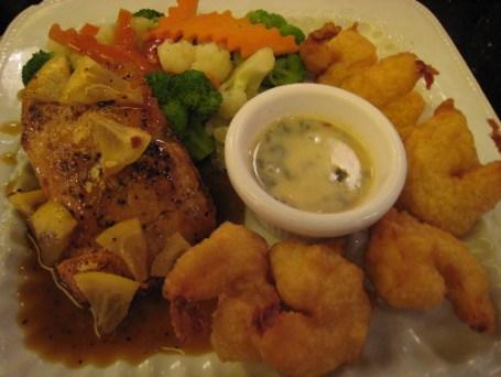 Lemon pepper salmon with tempura shrimp