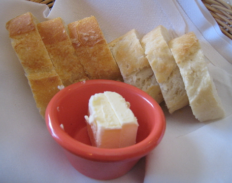 French baguette slices and real butter