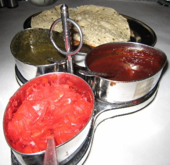 Three complementary chutneys accompany every dinner meal: onion, tamarind and mint.
