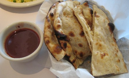 Naan and mango chutney