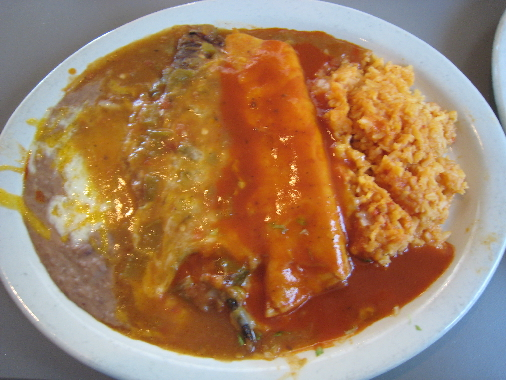 Combination plate with enchilada, chile relleno and taco (not pictured)