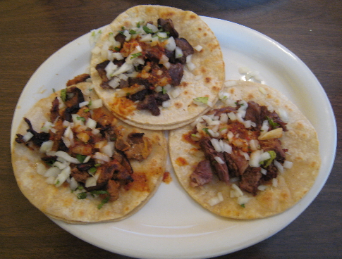 Tacos ala carte: asada, carnitas and pastor