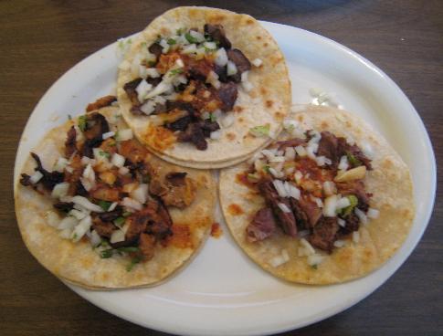 Tacos ala carte: asada, carnitas and pastor