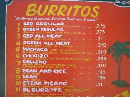 An extensive menu of burritos and tacos...