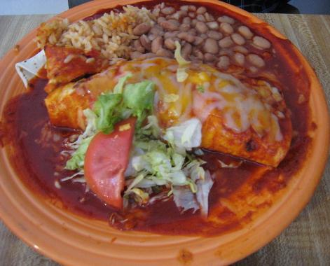Carne adovada burrito plate