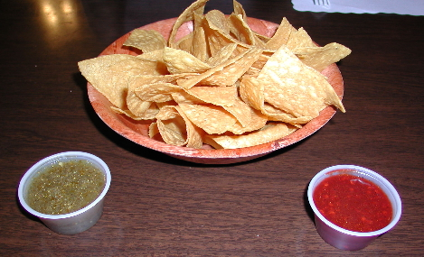 The red salsa at Dos Amigos is based on ancho chiles.