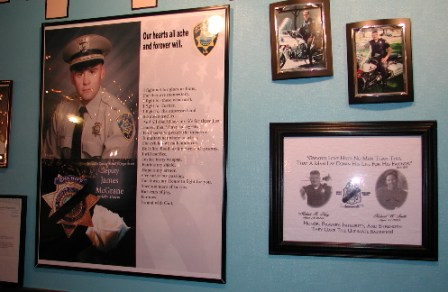 Bernalillo county and Albuquerque's finest are honored on a wall at Dos Amigos.