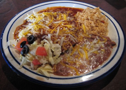 Blue corn enchiladas with carne adovada