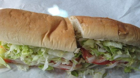A foot-long tuna salad sandwich.