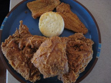 Fried chicken, biscuit and fried catfish