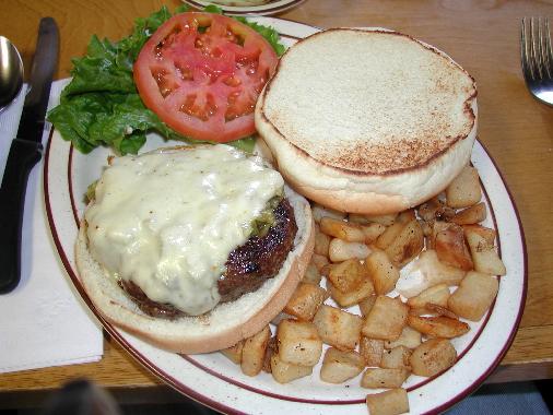 The world-famous Bobcat Bite green chile cheeseburger