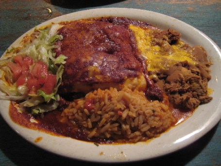 Stuffed sopaipillas with some of the best red chile in New Mexico
