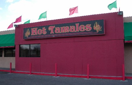 Hot Tamales restaurant, festooned in green and red chile colors.