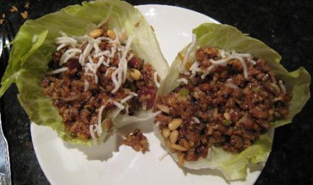 Savory minced squab and pork tenderloin lettuce cups