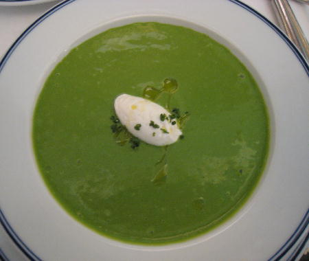 Watercress soup served cold