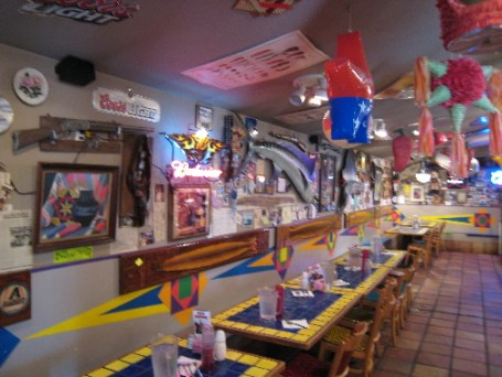 The colorful walls at Los Dos Molinos