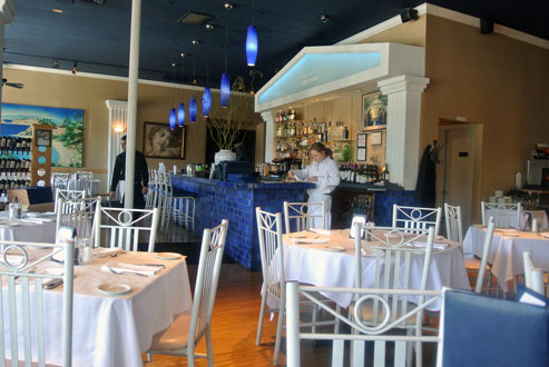 Deep Mediterranean Blues Throughout the Dining Room