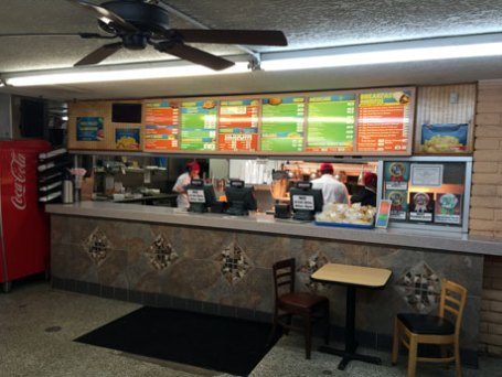 The counter where you place your order at the UNM area Golden Pride.