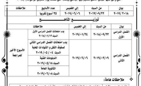 جدول مواعيد امتحانات الفصل الدراسي الأول 2019 (ابتدائي – إعدادي – ثانوي) وفقا للخطة الزمنية للمناهج التعليمية