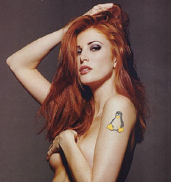 Angie Everhart: She credited her locks to strawberries... and genetics... I had one of the two available, so I mushed entire fields of strawberries into my head.