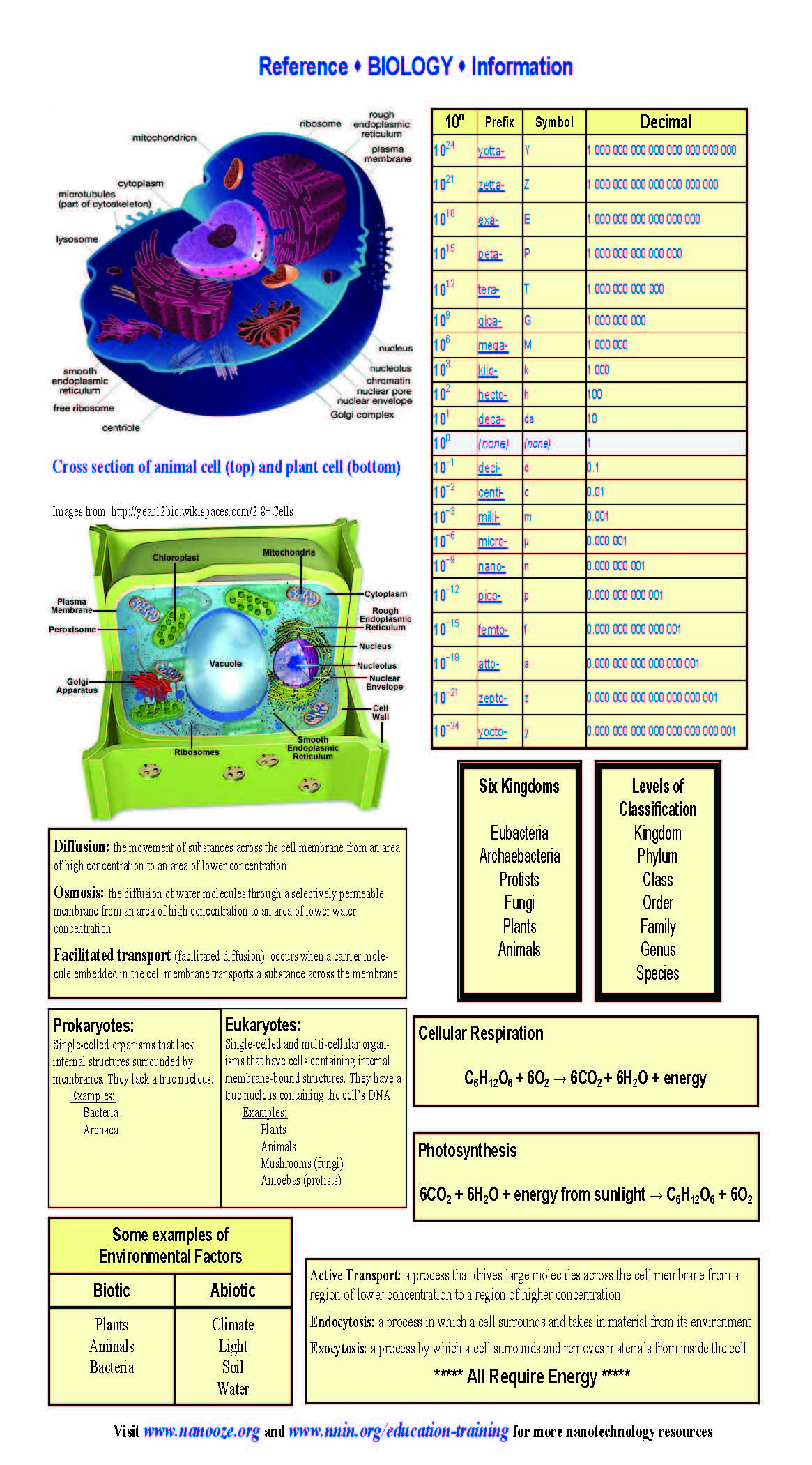 Biology Reference Sheets