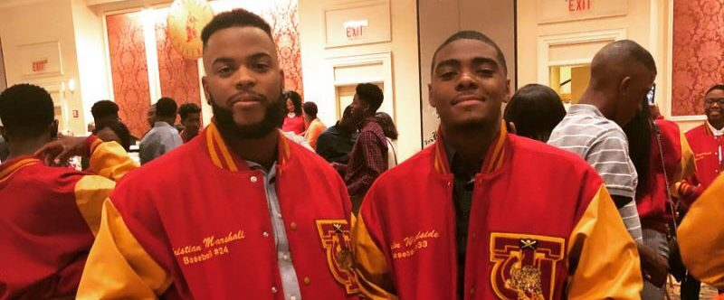 Christian Marshall (left) and Elgin Woodside are baseball teammates at Tuskegee University. Marshall and Woodside participated in the 2018 SiriusXM All-Star Futures Game. (Christian Marshall)