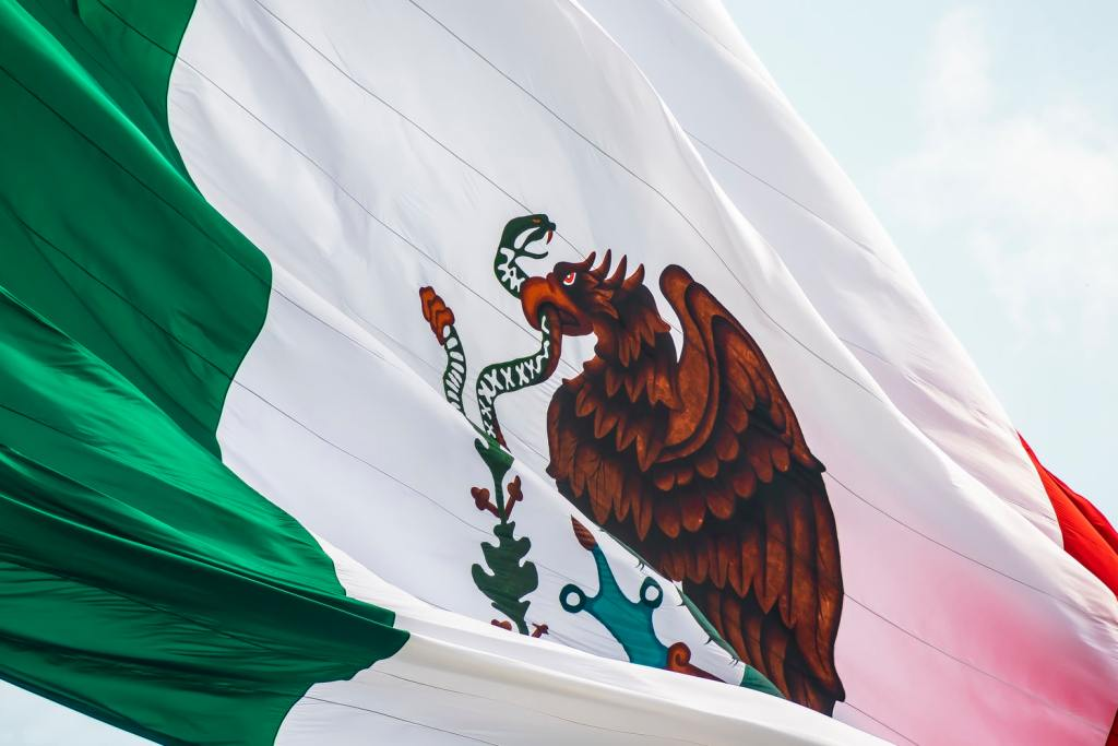 Mexican flag flowing in the wind