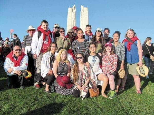Kiilinik High School students attend the Vimy 100 Celebrations on April 9. - photo courtesy of Patti Bligh