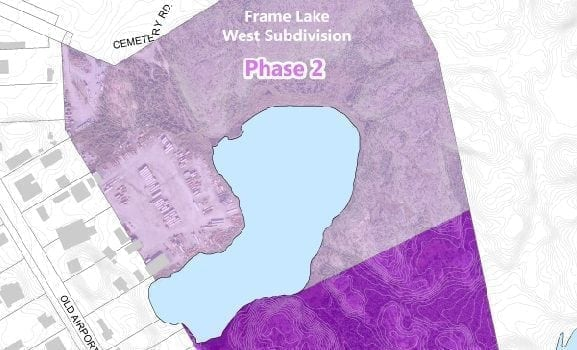 map courtesy of the City of Yellowknife A Frame Lake subdivision off Old Airport Road is included in the draft Capital Area Development Plan presented at the legislative assembly last month, though still must be approved by city council.
