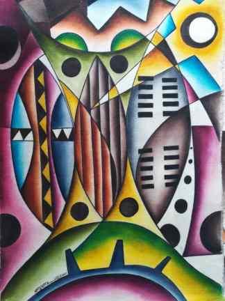 Title African Defence Tools. Artist Nuwa Wamala Nnyanzi. Medium Batik. Code NWN0262011